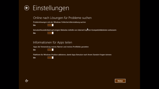 Installation Windows 8 Einstellungen