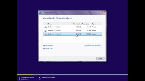 Installation Windows 8 Partitionen