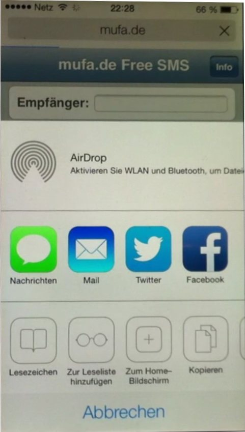 free sms iphone ios 7 safari browser teilen