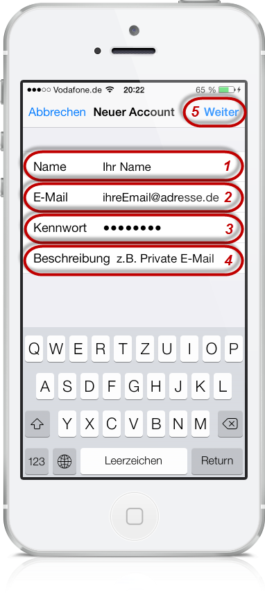 Freenet E-Mail am iPhone 06