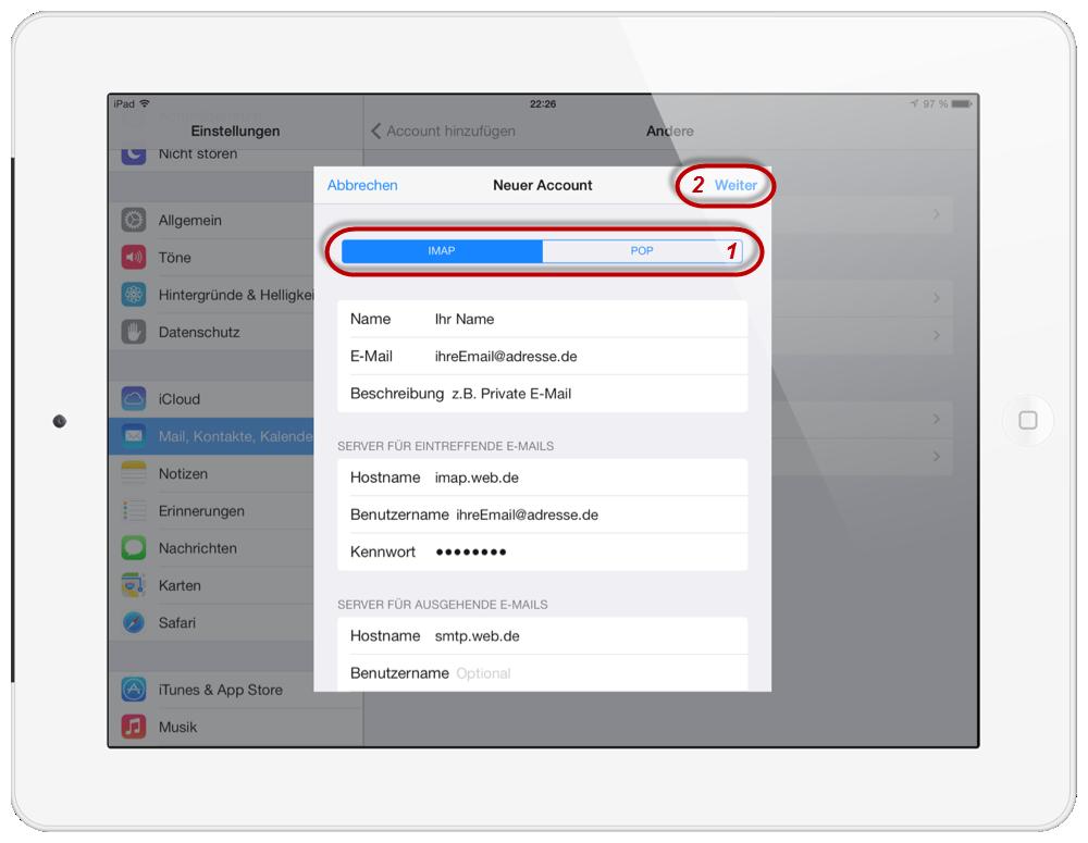 Web.de Freemail iPad 7