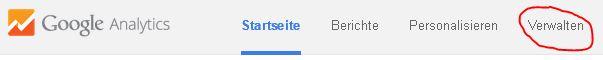 """Auf """"Verwalten"""" klicken google Analytics"""