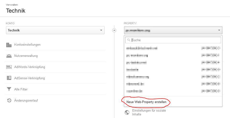 """Neue """"Web Property erstellen"""" anklicken"""