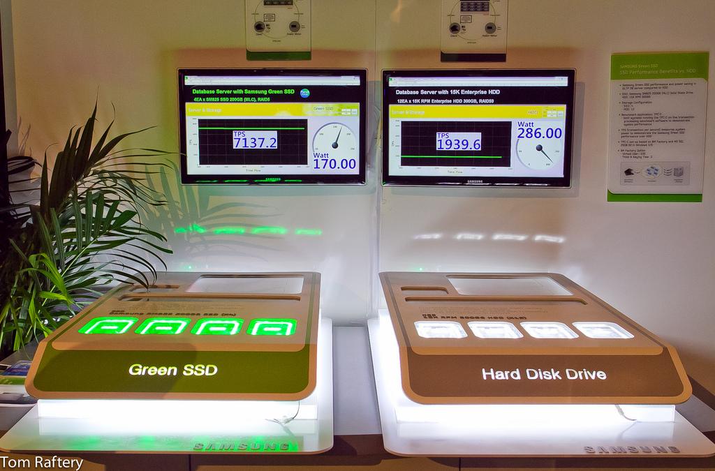 Energieverbrauch eines SSD-Servers und eines HDD-Servers mit ansonsten identischen Komponenten © Tom Raftery - flickr.com