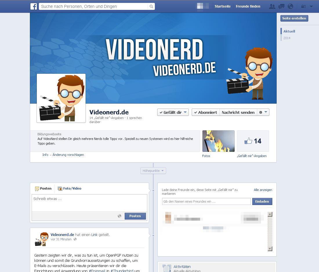 Videonerd hat nun auch eine Facebook-Seite