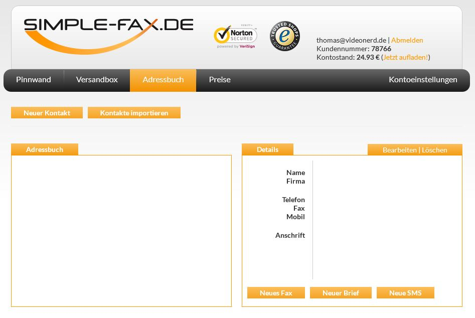Simple-Fax Adressbuch