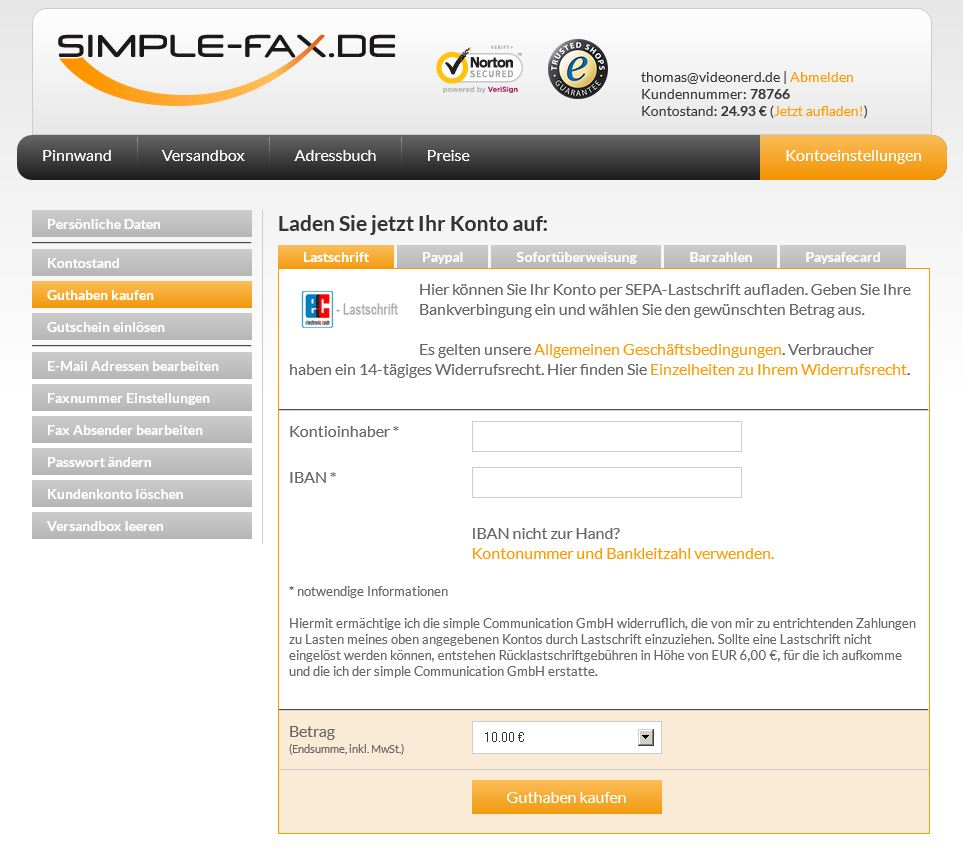 Simple-Fax Guthaben aufladen