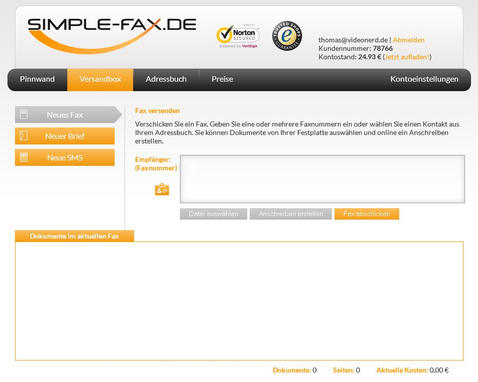 Simple-Fax neues Fax versenden