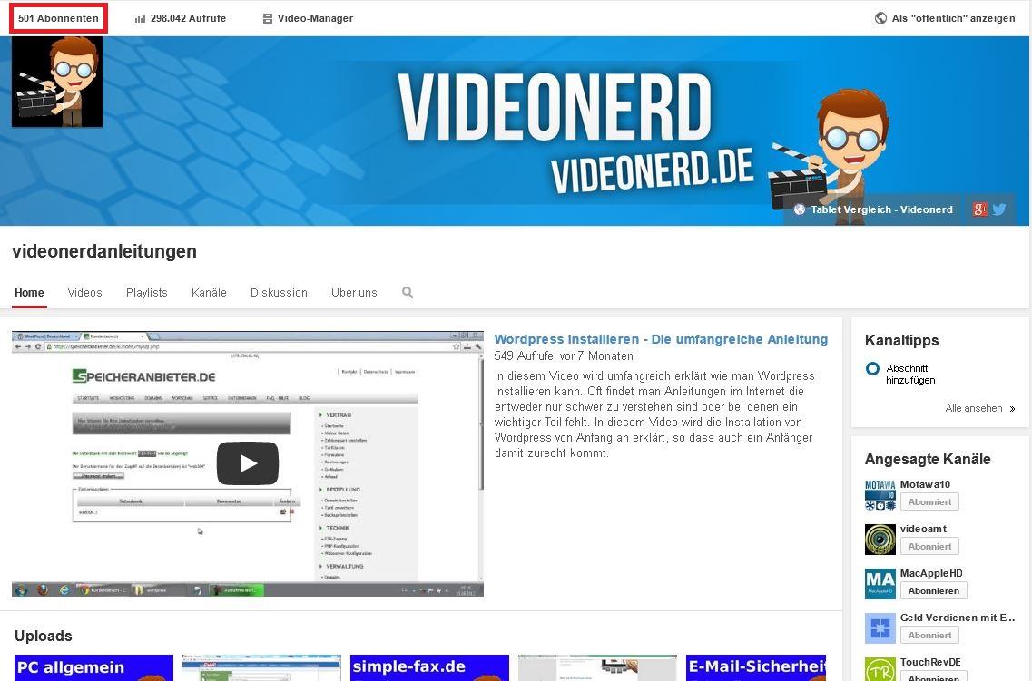 500 Abonennten bei Youtube