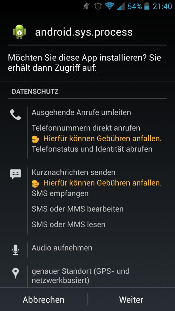 Screenshot Zugriffsrechte genehmigen