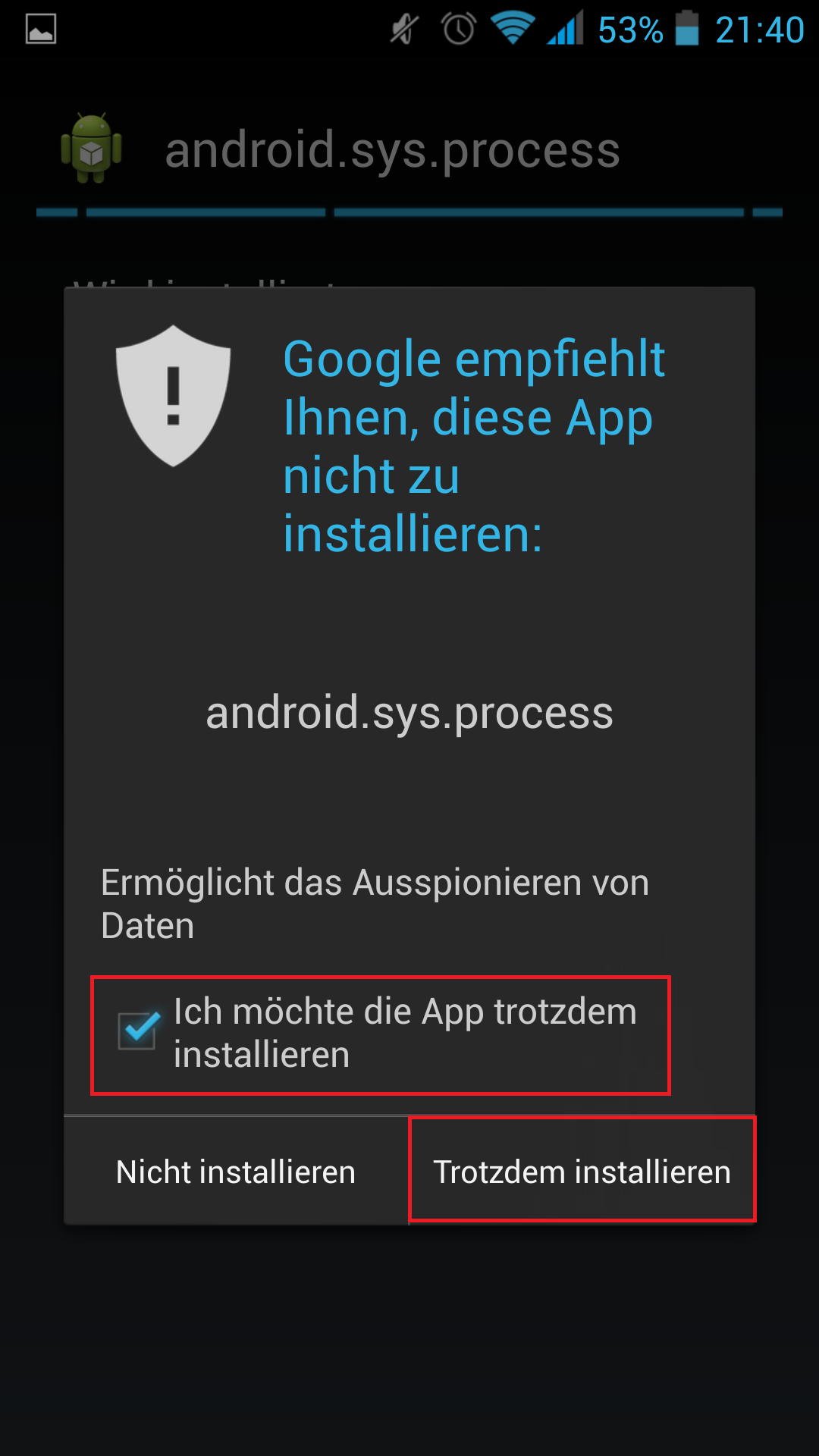 Screenshot google-Warnung