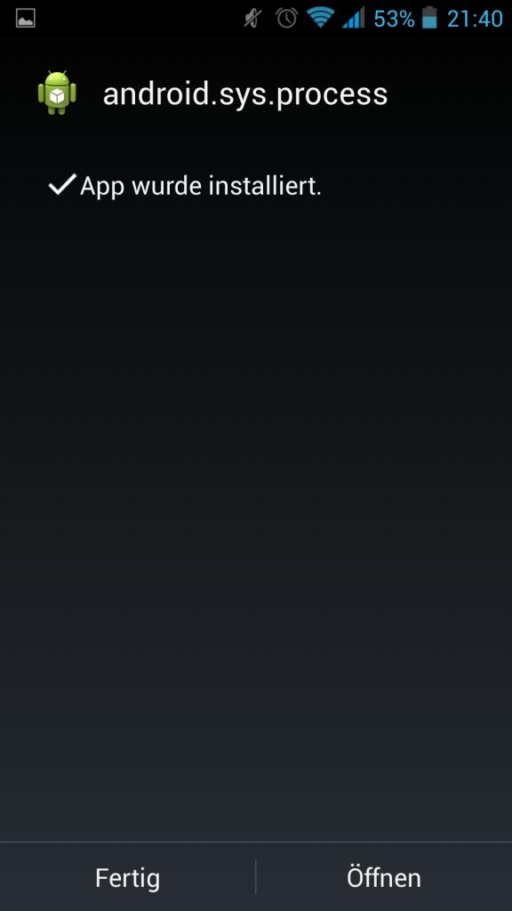 Screenshot Installation mSpy erfolgreich