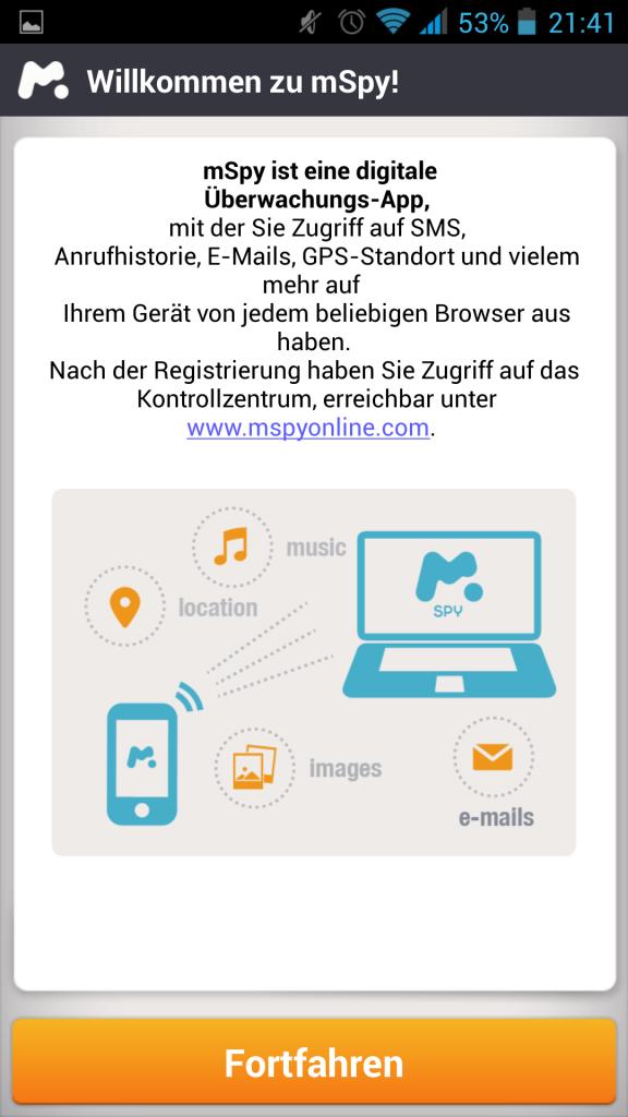 Screenshot mSpy-App Startbildschirm