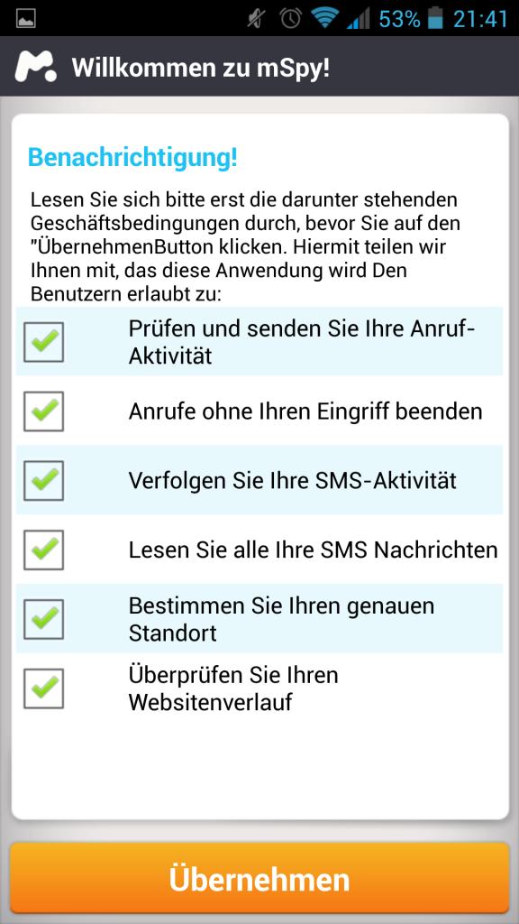 Screenshot Zugriffe erlauben