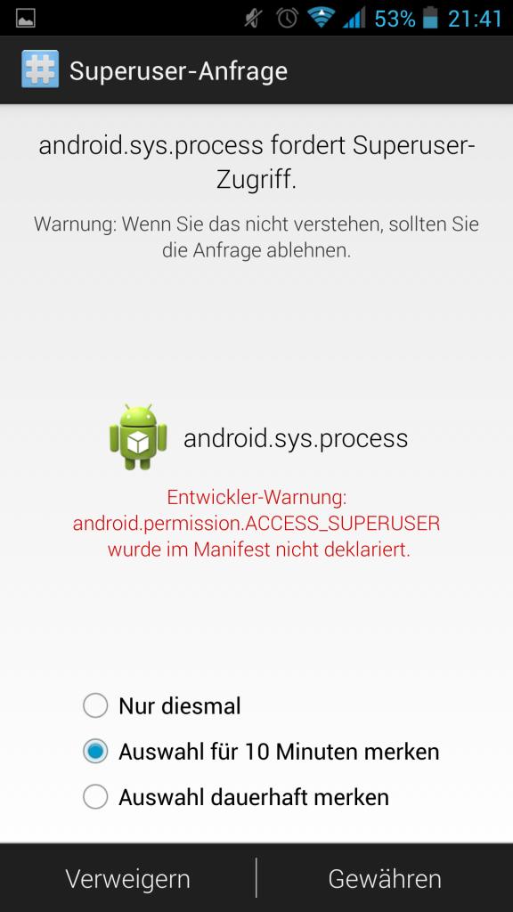 Screenshot Superuser Rootrechte-erlauben