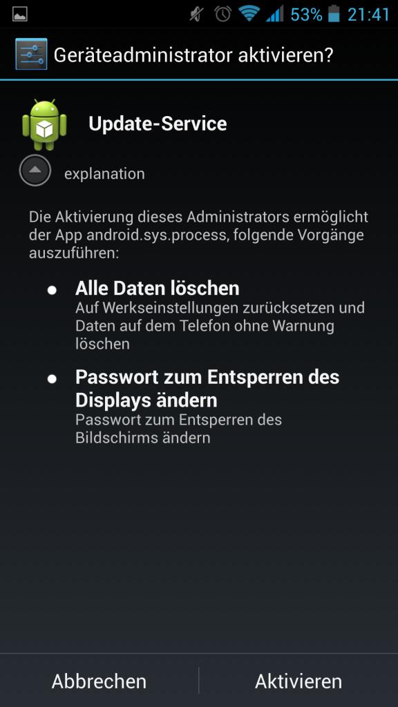 Screenshot Geräteadministration erlauben