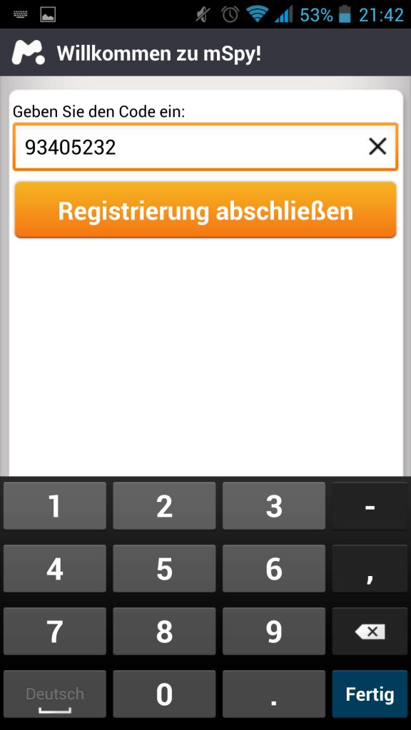 Screenshot Bestätigungscode eingeben