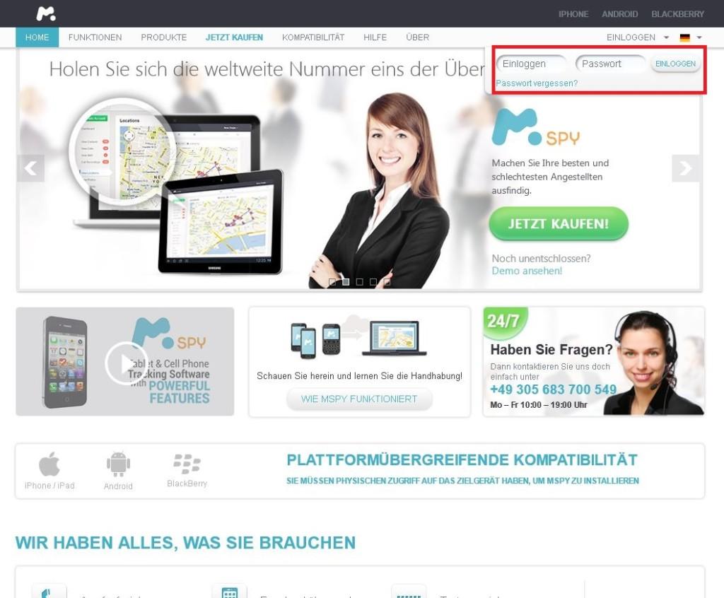 Einloggen auf mSpy.com