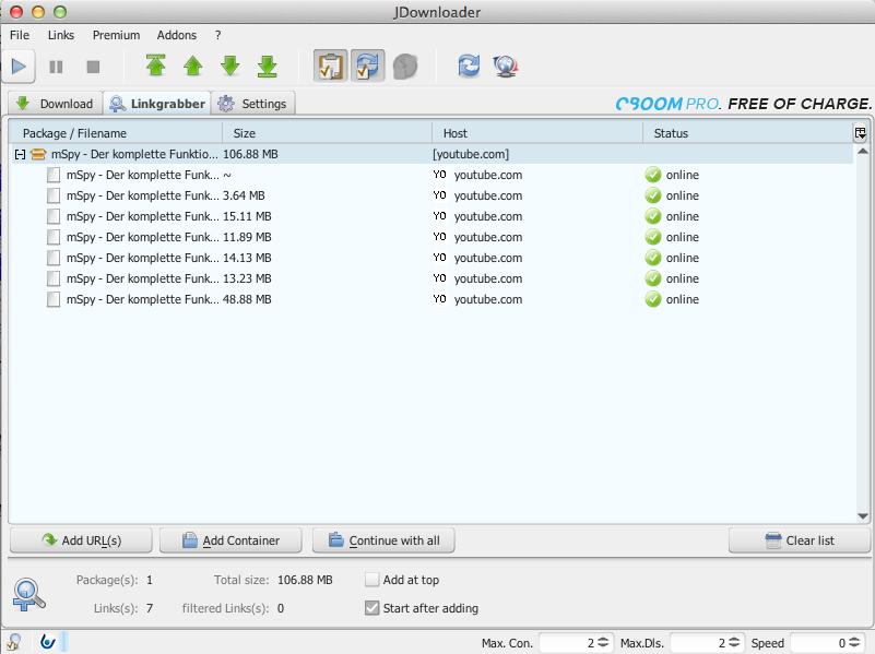 Der jDownloader bietet anhand des Links alle Videoversionen an