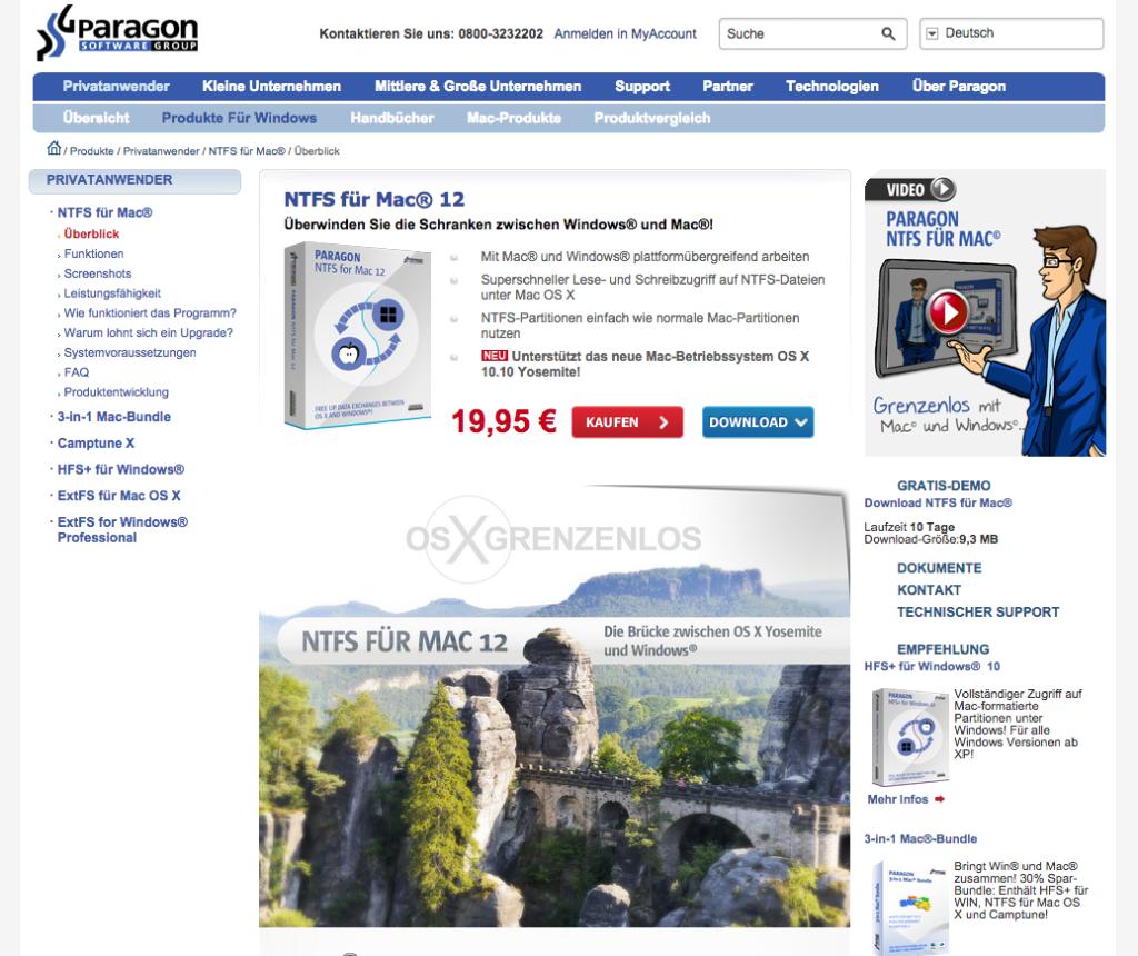 Software NTFS für Mac® 12  von Paragon