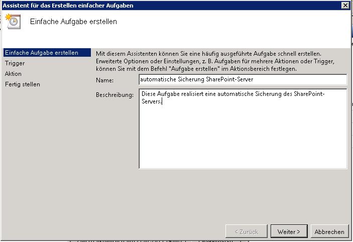 Name und Beschreibung SharePoint Sicherung