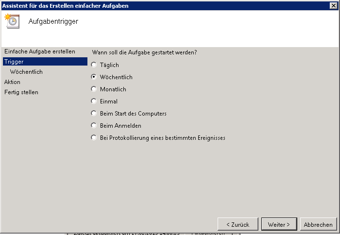 Zeitplan für das SharePoint Backup