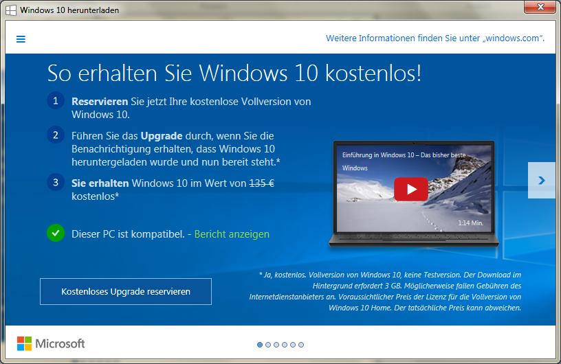 Windows 10 Upgrade ist jetzt verfügbar