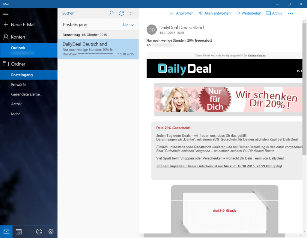 Windows 10 Mail App konfigurieren