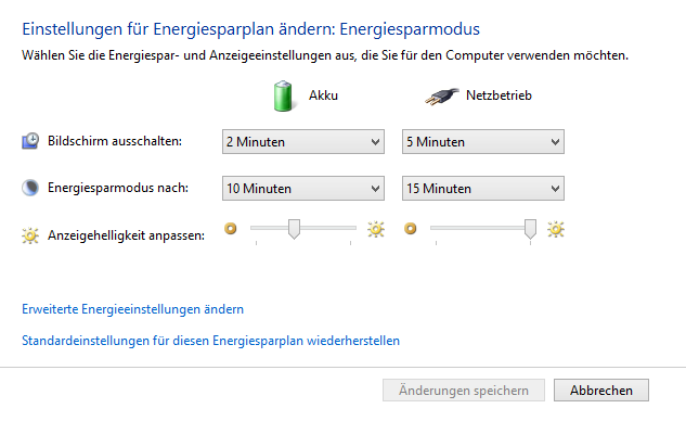Energiesparmodus Windows 8.1