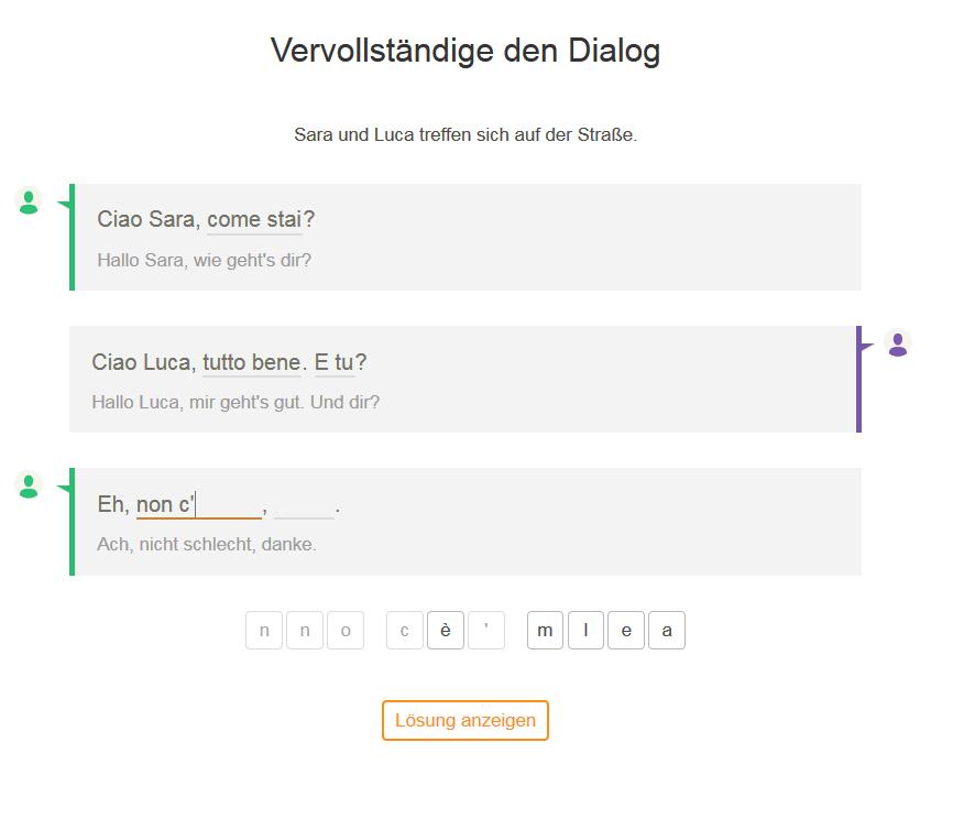 Dialog-Aufgabe Babbel
