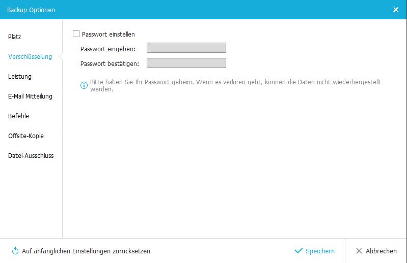 Passwort festlegen für die Sicherungen