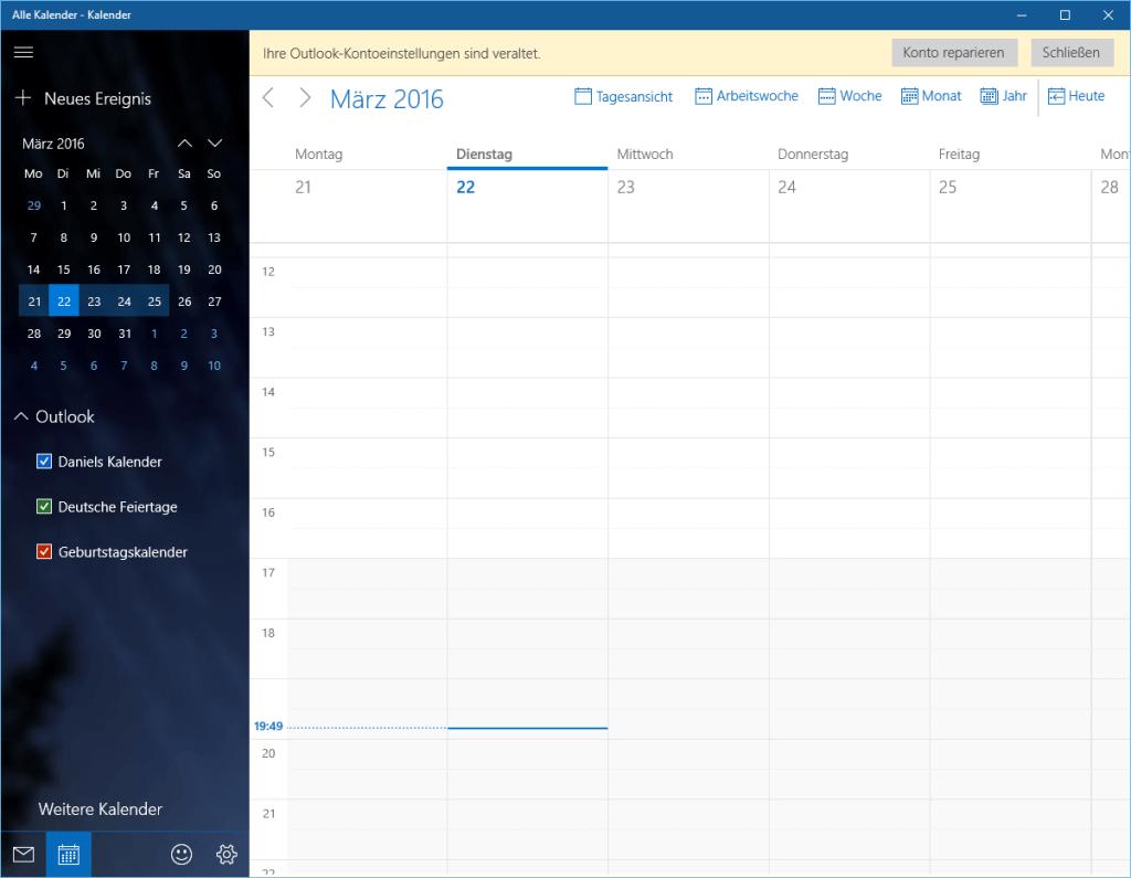 öffne kalender app