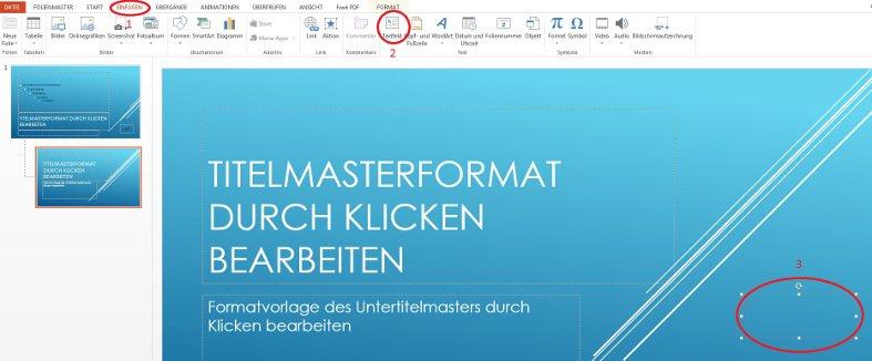PowerPoint Textfeld Masterfolie