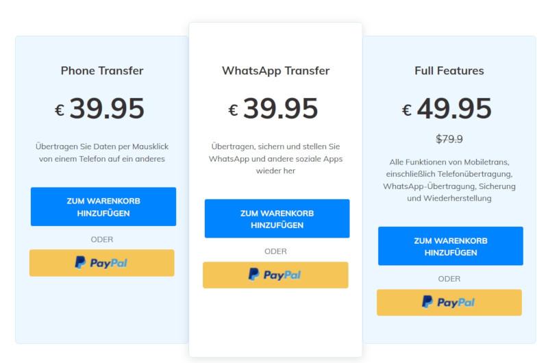 Preise Wondershare MobilTrans