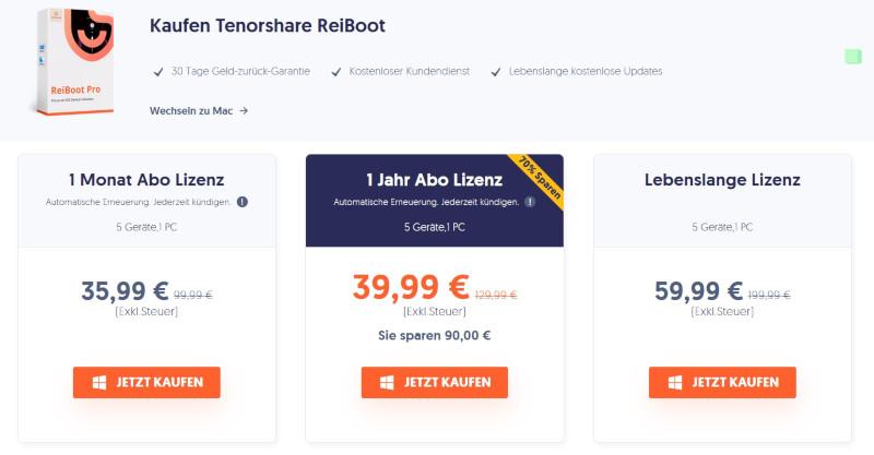 Preisübersicht ReiBoot Pro